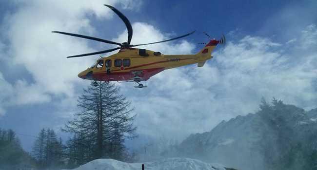 elicottero 118 decollo neve 1