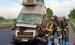 vigili del fuoco incidente furgone autostrada